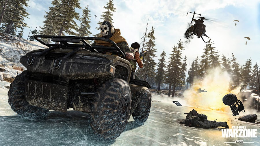call of duty warzone battle royale mode vehicles atv cargo truck helicopter explosion modern warfare pc ps4 xb1 infinity ward activision