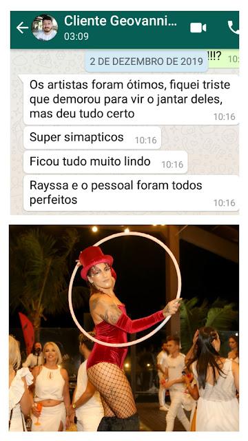 Feed back do nosso cliente da empresa Truss de Santa Catarina sobre as atrações com fogo, perna de pau e luzes de Humor e Circo que se apresentaram na festa de fim de ano corporativa White Party 2019.