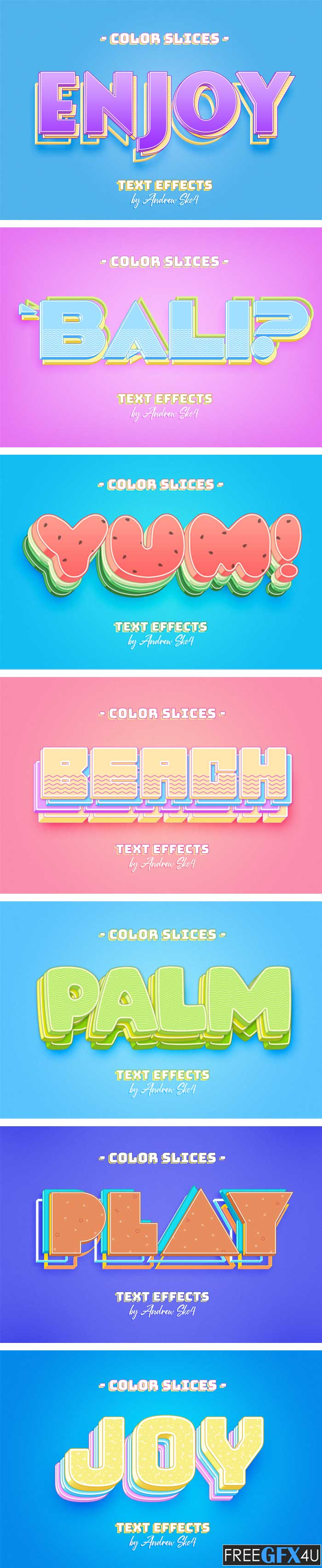 Color Slice Text Effects Free Download