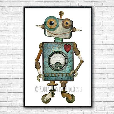 24x36 Robot Poster by Robin Davis Studio