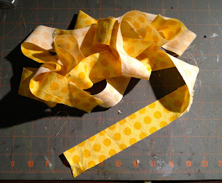 bias cut strips for ruffle