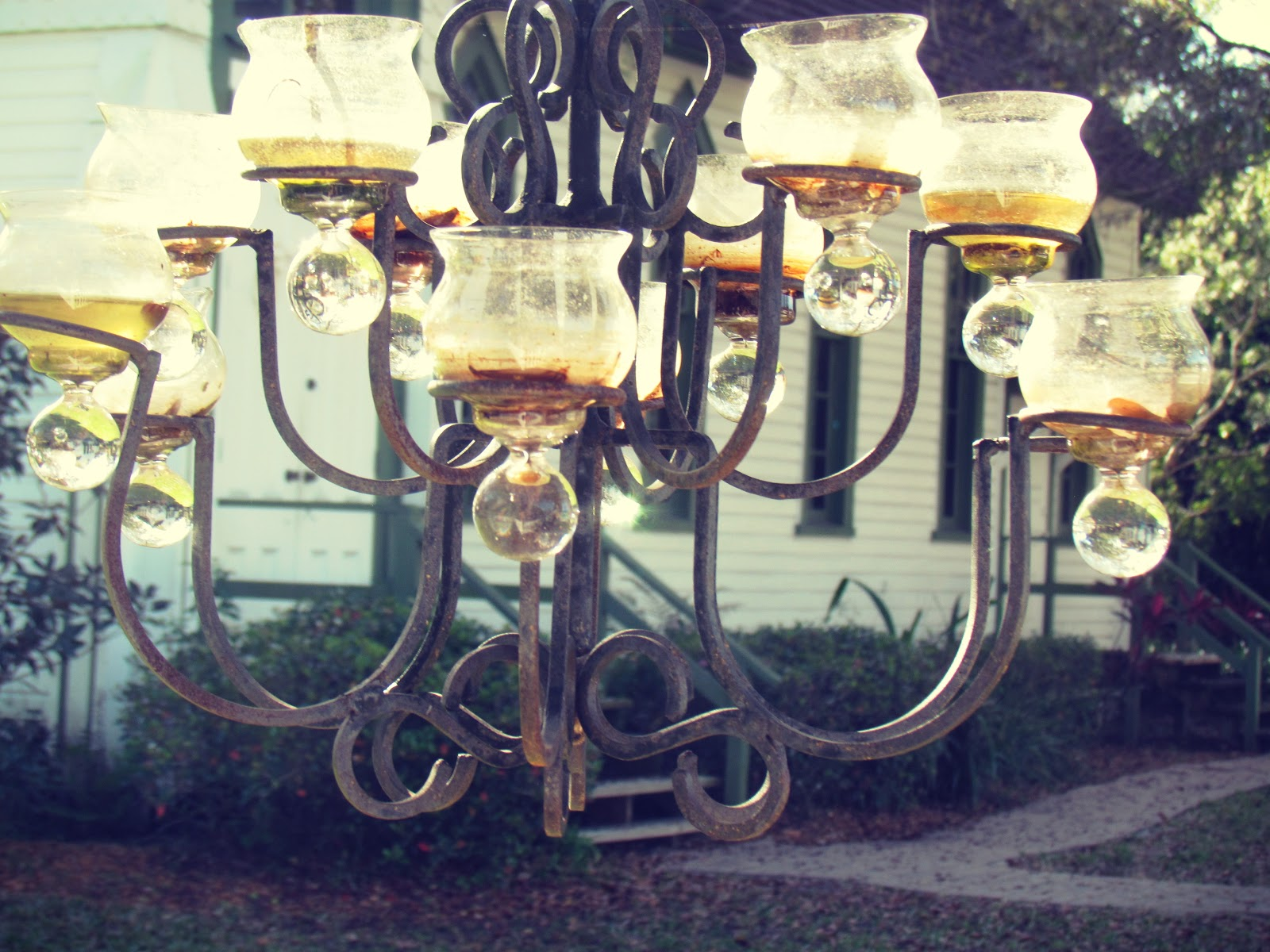 An outdoor wedding chapel with outdoor mood lighting in the butterfly gardens of Hammock Park in Dunedin, Florida