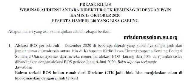Prease Rillis Webinar Audiensi Antara Direktur GTK Kemenag RI Dengan PGIN