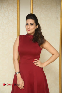 Telugu Tollywood Anchor Manjusha Pos in Red Short Dress  0001.JPG