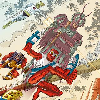 Personagens cósmicos de Jack Kirby, com destaque para o Forrageador - ilustração de Samuel Bono