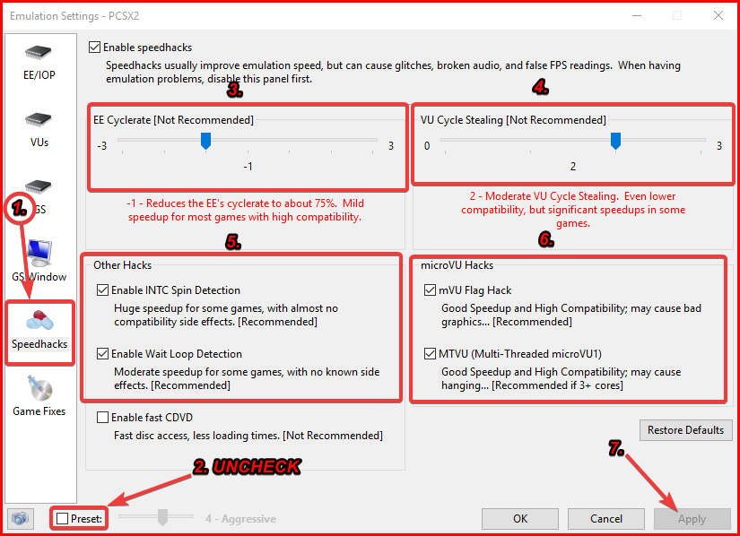 Speed hacks configuration