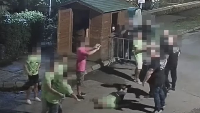 Videón, ahogy agyba-főbe vernek a biztonsági őrök egy legénybúcsút tartó társaságot Siófokon