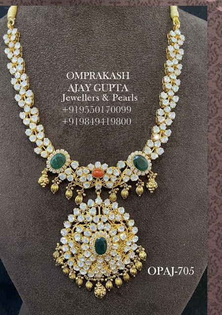 Flat Diamond Necklace by Omprakash Jewels