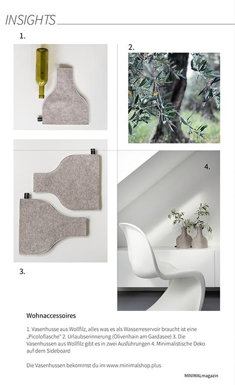 Vasenhussen aus Wollfilz ein Design-Produkt von MINIMALshop