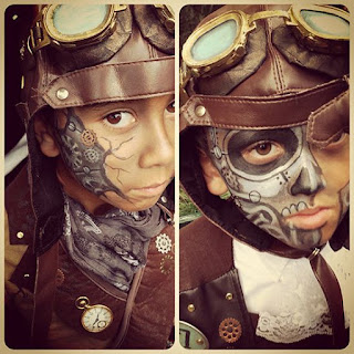 Steampunk special fx makeup for kids. Face paint gears beneath skin for a robot skeleton effect