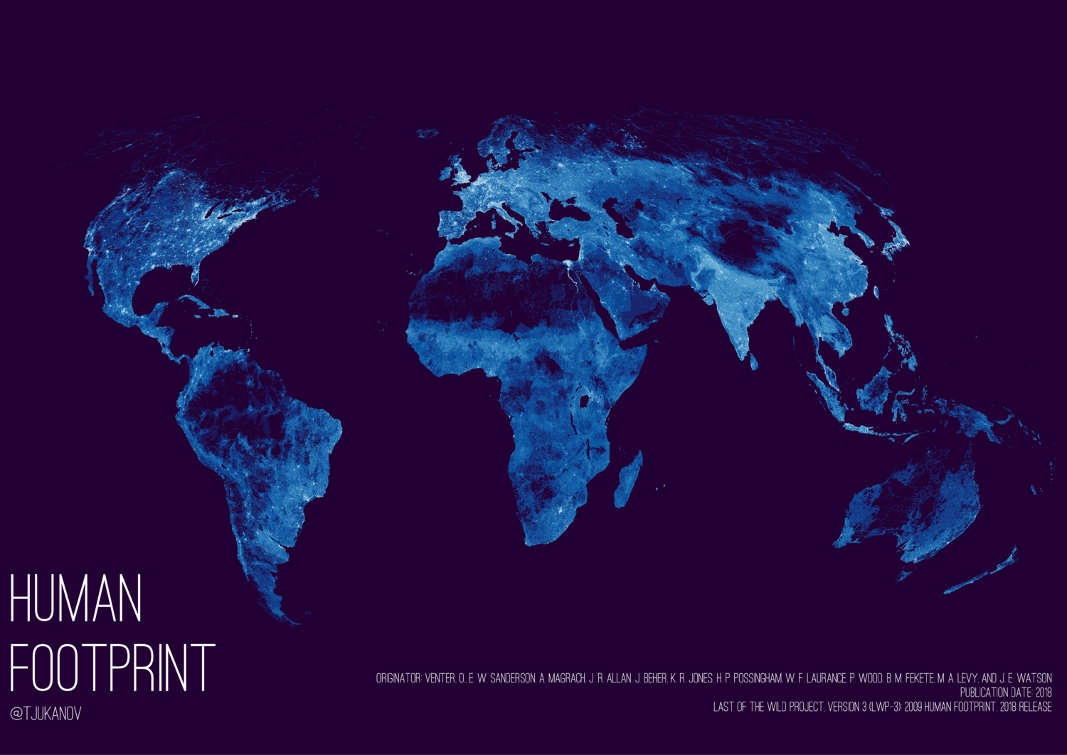 Human footprint on planet Earth