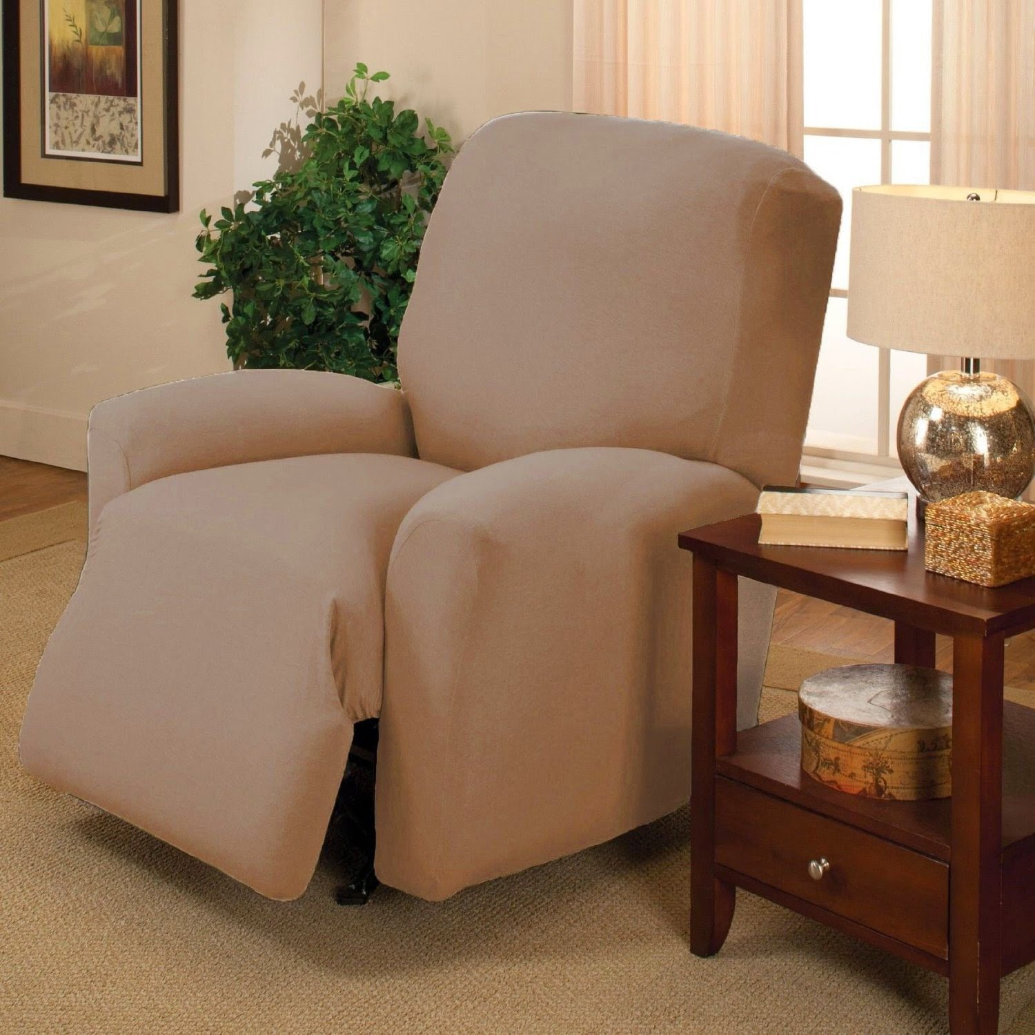 Tan Slipcover Recliner Sofa Couch