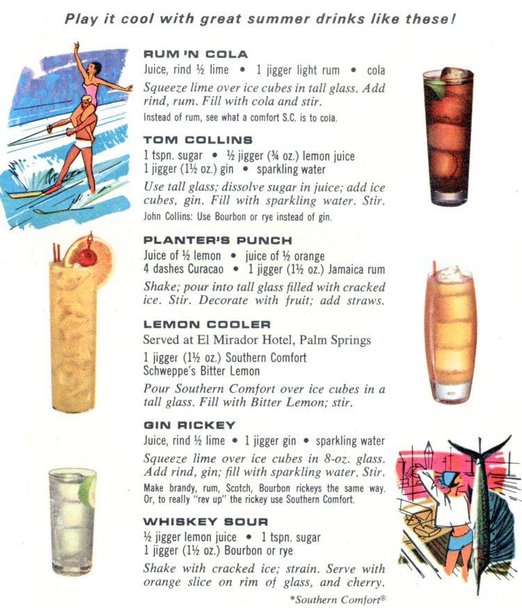 A Vintage Nerd, Vintage Blog, Vintage Summer Drinks, Retro Food, Retro Food Recipes, 1960's Summer Drinks