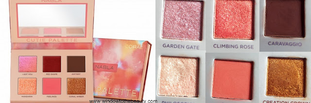 Nabla Cutie Coral repeated shades swatches