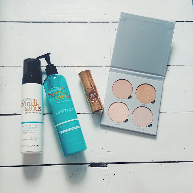 bondi sands tanner, benefit dew the hoola, anastasia beverly hills