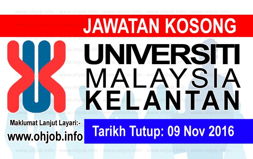 Jawatan Kerja Kosong Universiti Malaysia Kelantan (UMK) logo www.ohjob.info november 2016
