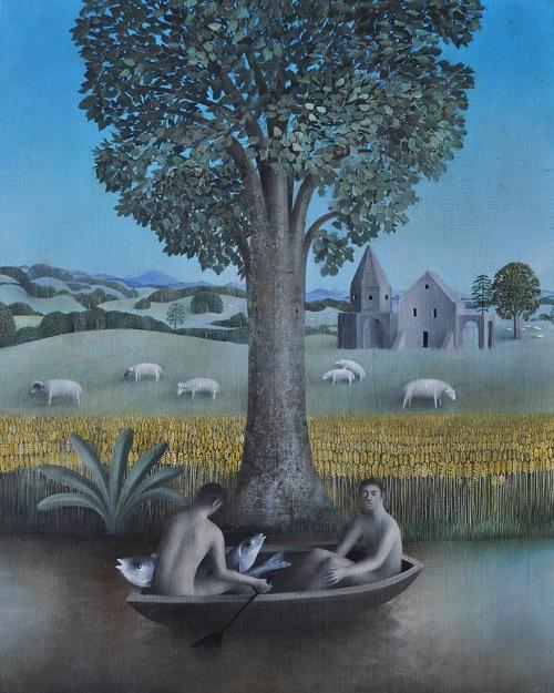 "arte contemporáneo, pinturas al óleo, by James Mortimer, ""Fishing and Sheep"", 2017."