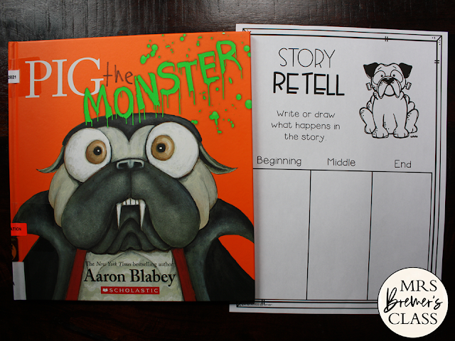 Pig the Monster book study activities unit with Common Core aligned literacy companion activities for Kindergarten and First Grade