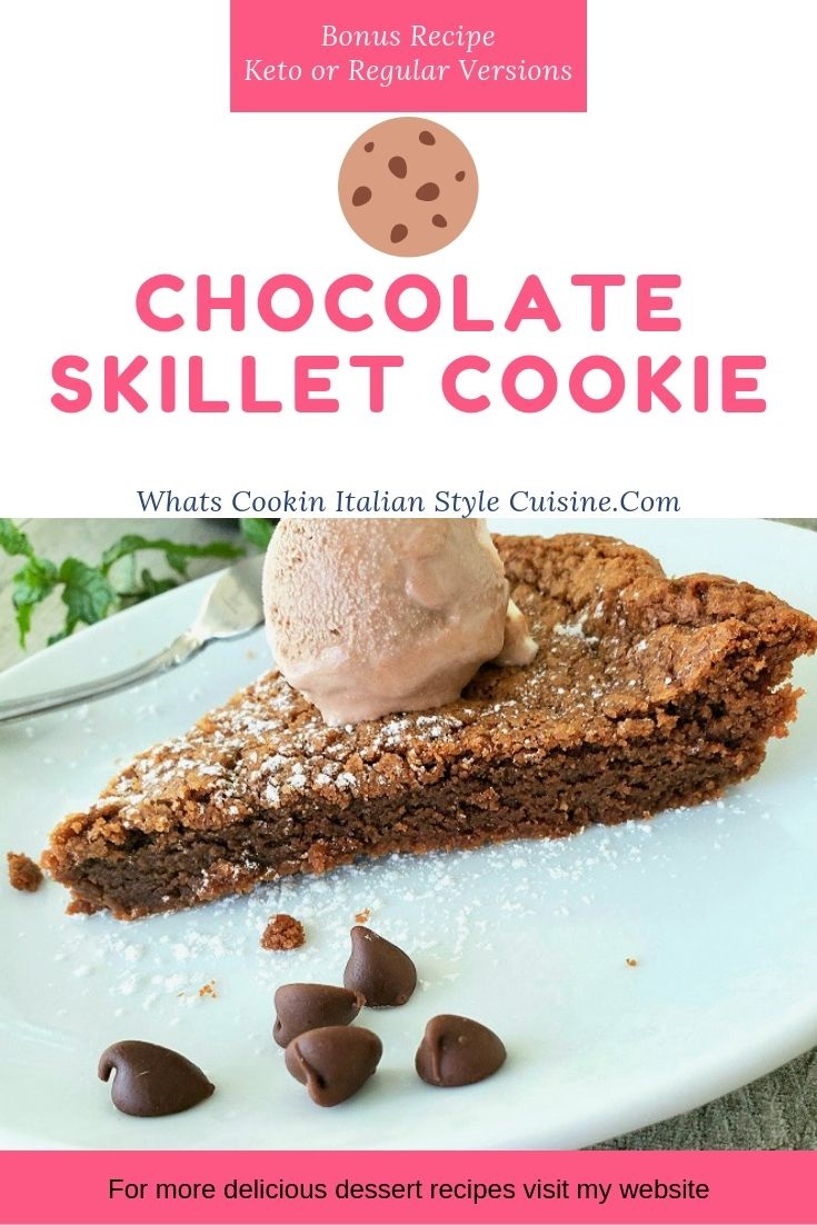 This is a recipe for Keto Chocolate Skillet Cake. The cake is diabetic friendly and keto ingredients. This chocolate cake is on a white plate with mint in the background.