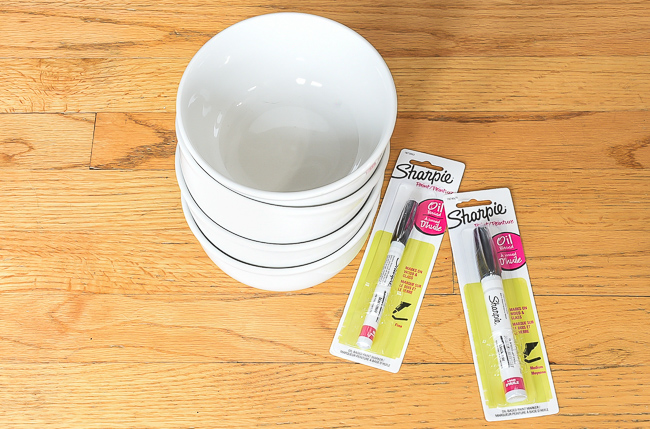 Supplies for DIY Sharpie art bowls