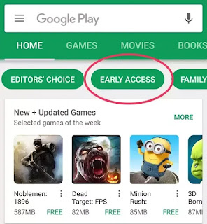play store early access apps and games