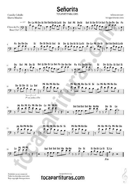 Partitura con Notas en Clave de Fa de Señorita (Trombón, Chelo, Bombardino, Tuba, Bajo Eléctrico, Fagot...) Bass Clef Sheet Music (Trombone, Cello, Euphonium, Electric Bass, Tuba...)