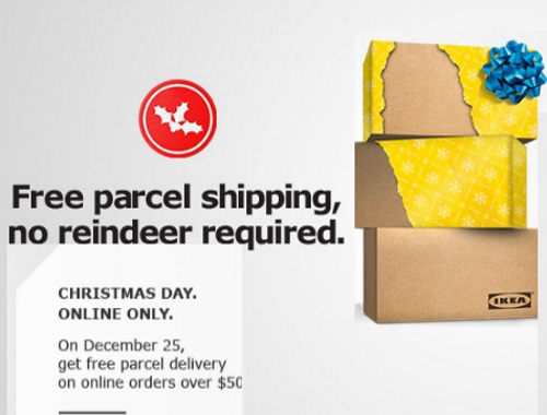 IKEA Free Parcel Shipping Christmas Day