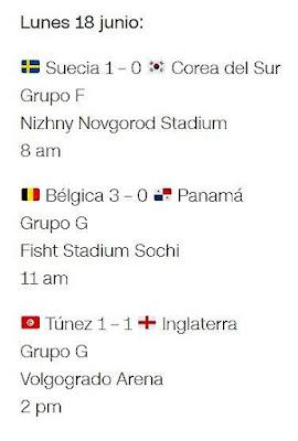 Partidos del Mundial lunes 18 - 2018