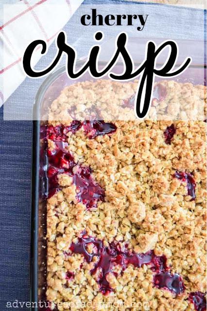 a pan of cherry crisp