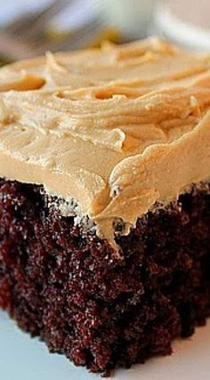 So what makes this Chocolate Cake with Peanut Butter Frosting so special? The flavor is very special. Chocolate and coffee combined give you a spectacular mocha flavor. The texture of the cake is very moist and soft.