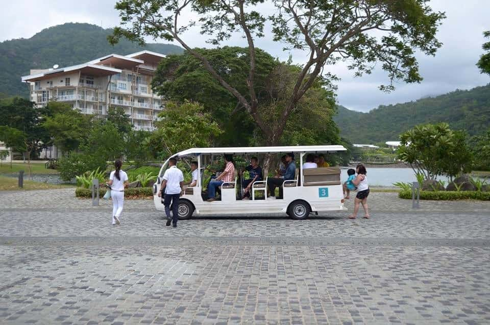 The cart that is the only mode of transportation inside the Pico de Loro Beach & Country Club
