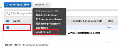 aws route table name modify