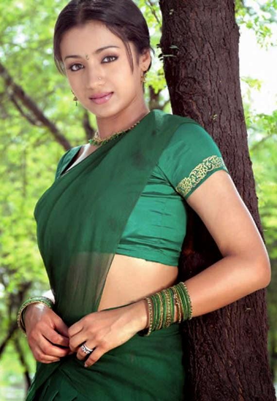Trisha  tollywood hot actress in green Saree