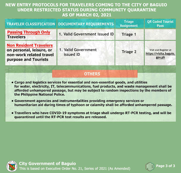 Baguio updated travel requirements or entry protocols to Baguio City