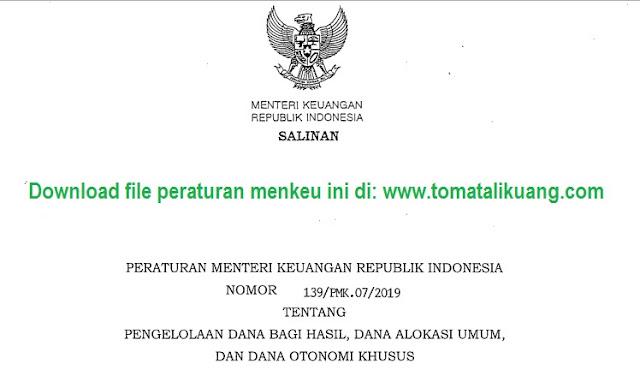 peraturan menteri keuangan pmk noor 139 tahun 2019; tomatalikuang.com