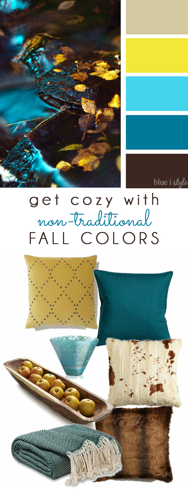 Brown Aqua Yellow Fall Color Mood Board