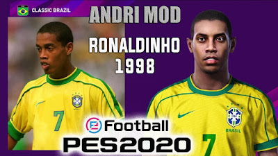 PES 2020 Faces Ronaldinho 1998 by Andri Mod