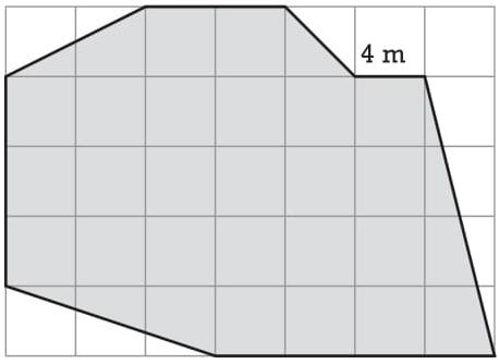 (ESPM 2019) Se o lado de cada quadrícula da figura abaixo mede 4 m, a área do terreno representado mede: