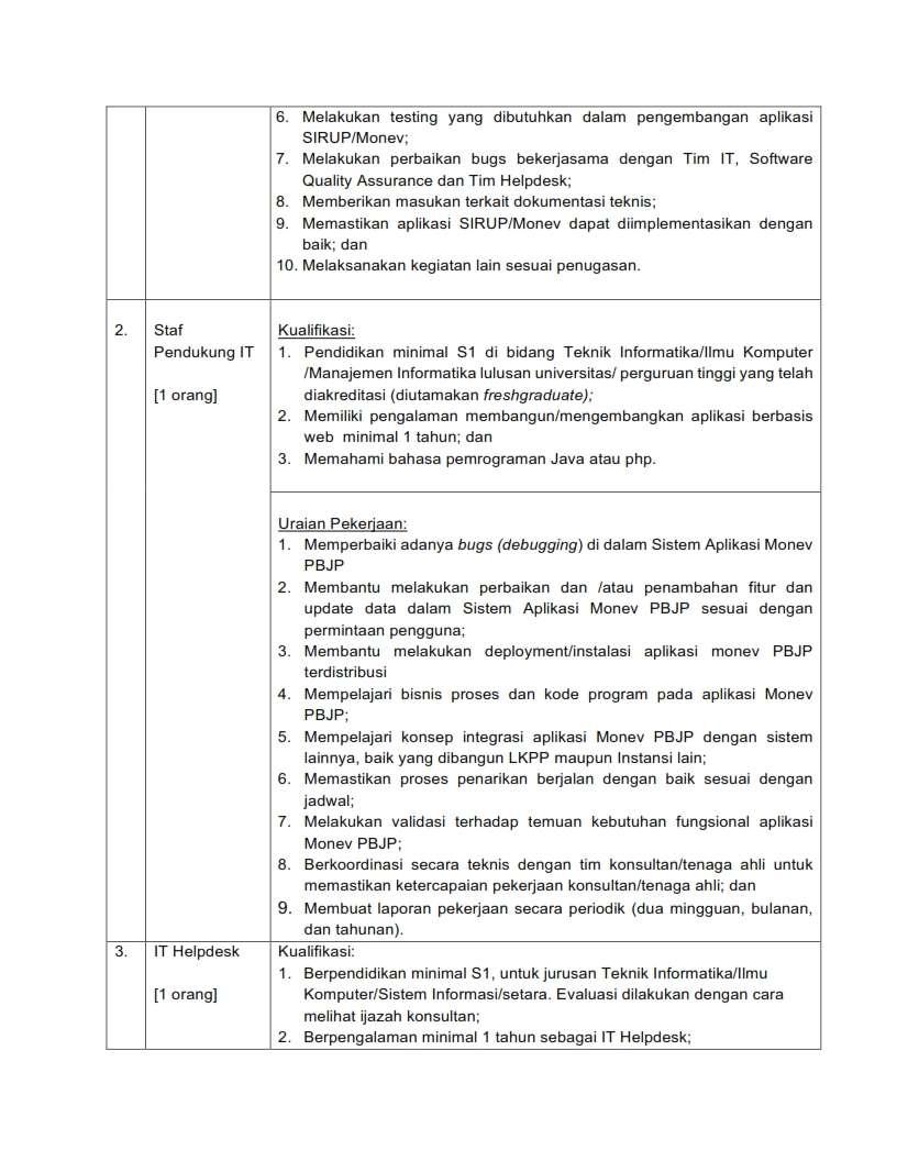 Lowongan Kerja Staf Pendukung Direktorat Perencanaan, Monitoring dan Evaluasi LKPP Bulan Mei 2020