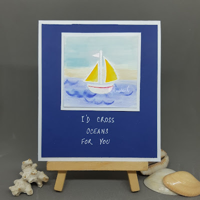 Boat card, card by ishani, quillish, boat stamp