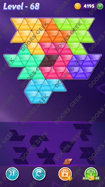 Block! Triangle Puzzle 8 Mania Level 68 Solution, Cheats, Walkthrough for Android, iPhone, iPad and iPod