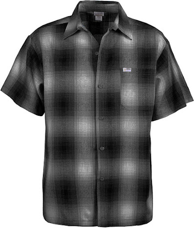 Charcoal Men's Short-Sleeve Western Plaid Flannel Shirt