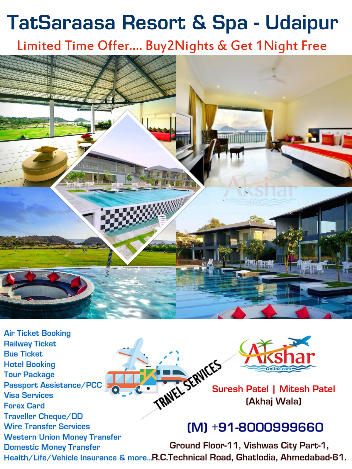 LIMITED OFFER OF TATSARAASA RESORT AND SPA UDAIPUR  Package price 16000/- for two night with breakfast and dinner, 2  Evening High Tea with Snacks, 3rd night complimentary on MAP.   This offer is valid for Limited Period. PLEASE NOTE: 01 Child each room below 05 Years is complimentary. Other Inclusions:. v  In Room Tea Coffee Maker With Complimentary Replenishment Once Daily. v  Two Bottles Of Packed Drinking Water In Room Replenished Once Daily. v  Free Wi-Fi, Offering an outdoor pool and a spa and wellness centre, TatSaraasa Resort & Spa is located in scenic and historic locales of Udaipur.  The accommodation will provide you with a TV and air conditioning. There is also an electric kettle. Featuring a shower, private bathroom also comes with a hairdryer and bathrobes. You can enjoy lake view from the room. Extras include a seating area, satellite channels and cable channels.  At TatSaraasa Resort & Spa, Udaipur you will find a garden. Other facilities offered at the property include a tour desk and luggage storage.  It is 11.7 km from City Palace and 13 km from Lake Pichola. This resort is 15 km away from Udaipur Bus Station and Udaipur Railway Station while it is 28 km from Maharana Pratap Airport.  The in-house restaurant serves multi-cuisine delicacies. Room service is available for limited number of hours.