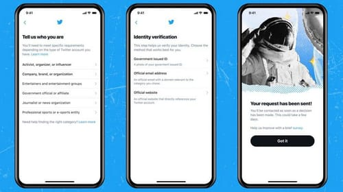 You can use Twitter to request a blue verification badge