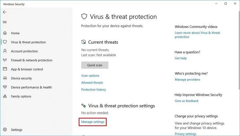 يقوم Windows Defender بإدارة الإعدادات