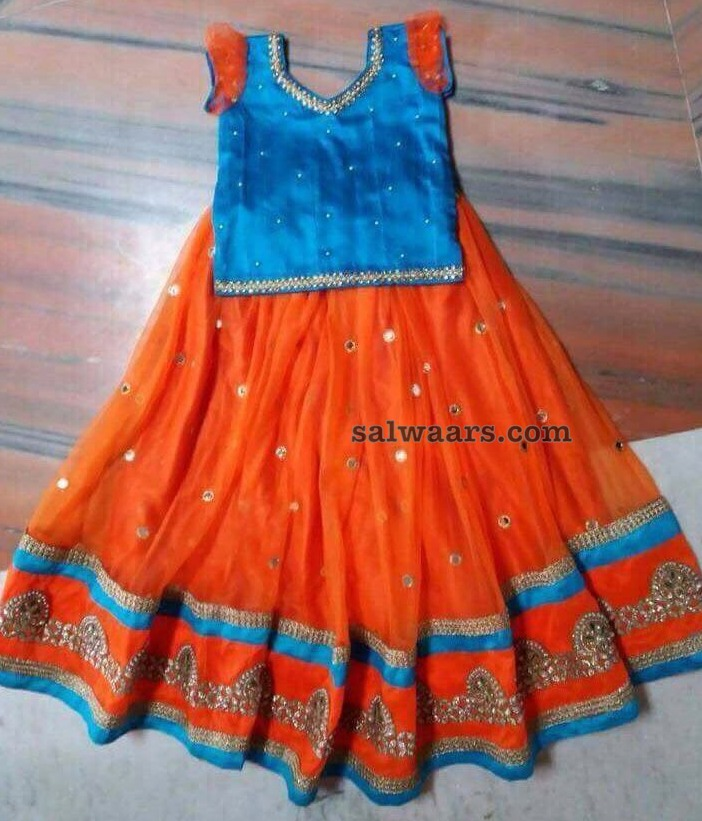 Mirror Work Sky Blue Orange Lehenga