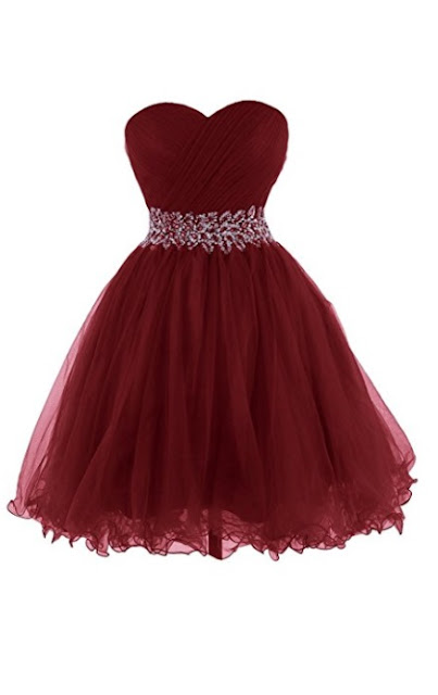 Short Strapless Sweetheart Tulle Formal Dress - Burgundy Prom Dress 2018