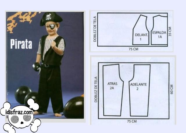 disfraz casero de pirata para niño moldes