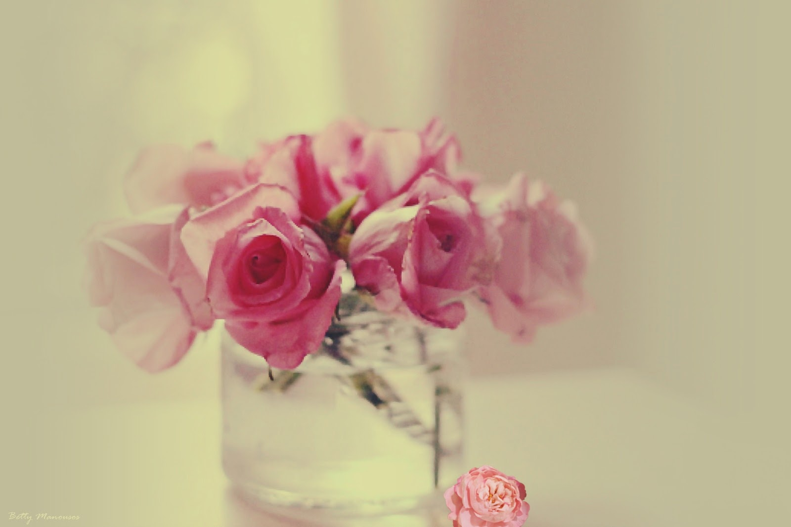 pink flora in a glass vase