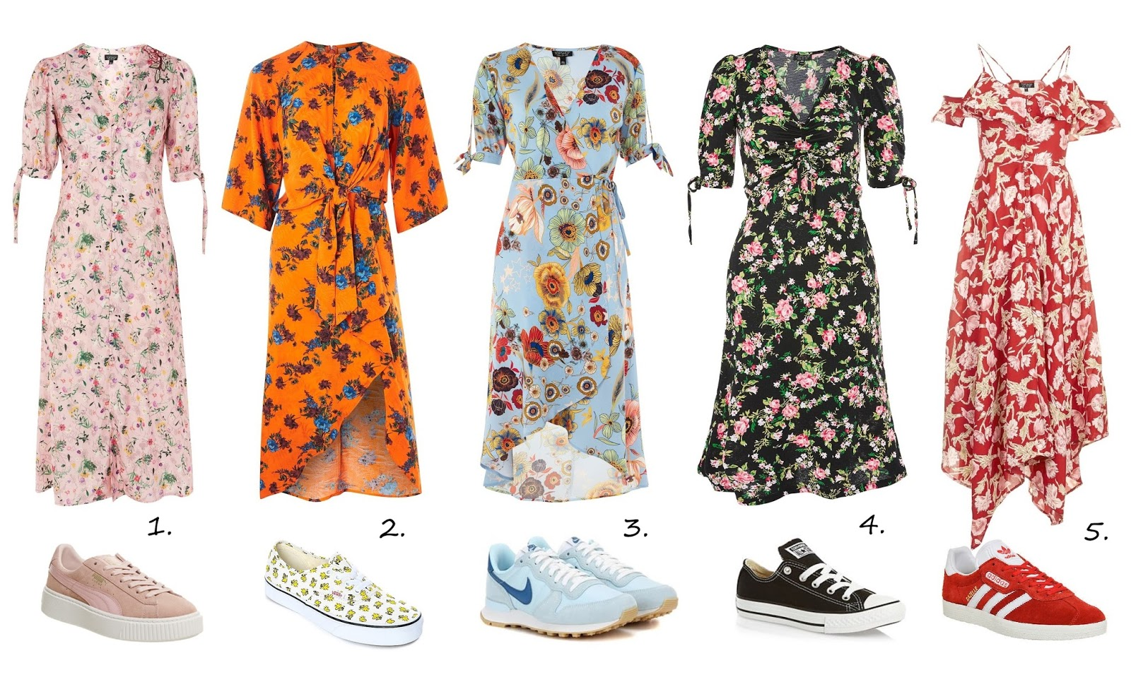 floral midi dress with matching sneakers outfit